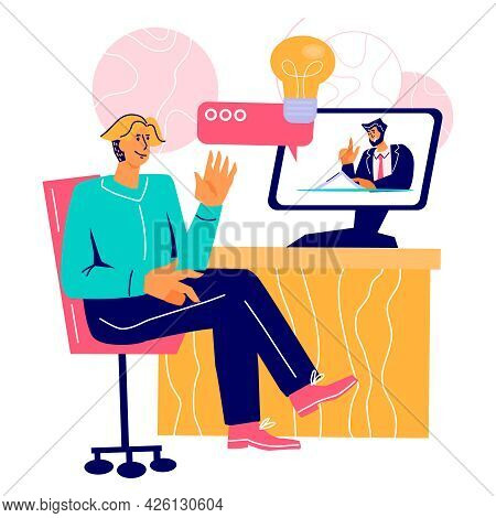 Online Business Meeting Or Conference Concept With Man At Desktop Chatting With Colleagues Online. W