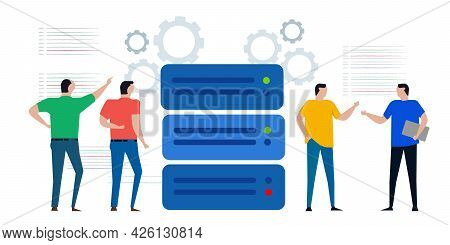 Group Of Engineer Prepare Maintain Server Data Center Mainframe For Storage Web Mining Infrastructur