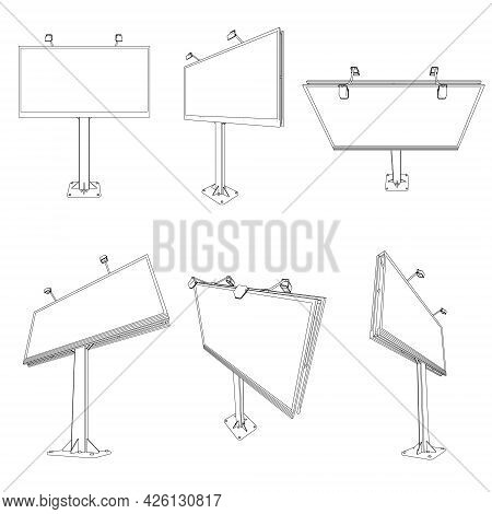 Set With Contours Of Billboards Isolated On White Background. Vector Illustration