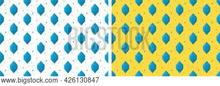 Vector Seamless Pattern Made Of Blue Crystals On White And Yellow Background