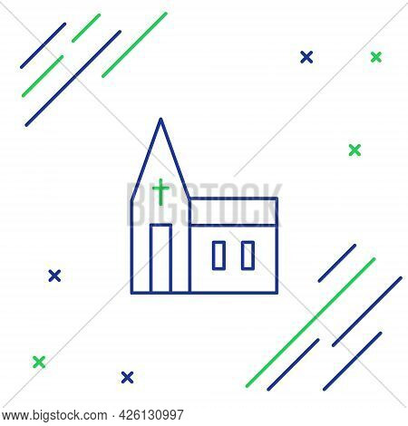 Line Church Building Icon Isolated On White Background. Christian Church. Religion Of Church. Colorf