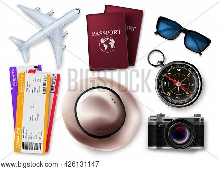 Travel Elements Vector Set Design. Travel And Tour 3d Object Element Isolated In White Background Fo