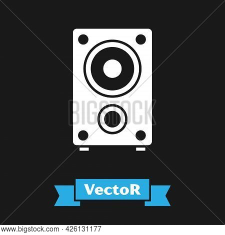 White Stereo Speaker Icon Isolated On Black Background. Sound System Speakers. Music Icon. Musical C