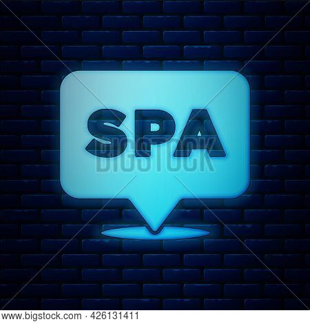 Glowing Neon Spa Salon Icon Isolated On Brick Wall Background. Concept For Beauty Salon, Massage, Co