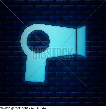 Glowing Neon Hair Dryer Icon Isolated On Brick Wall Background. Hairdryer Sign. Hair Drying Symbol.
