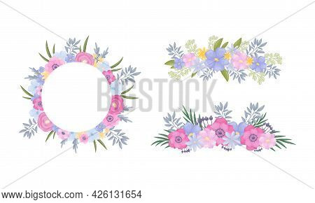 Floral Border And Circle Frame Of Lush Blooming Flowers As Decorative Vector Composition Set