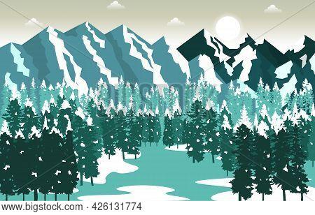 Winter Snow Mountain Peak Pine Nature Landscape Adventure Illustration