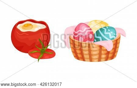 Scrambled Egg In Bell Pepper And Decorated Easter Eggs In Wicker Basket Vector Set