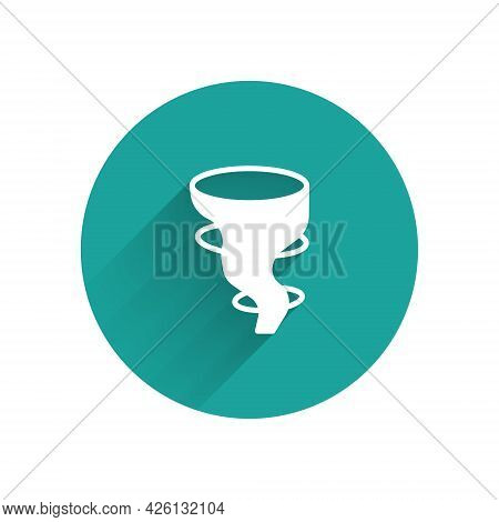 White Tornado Icon Isolated With Long Shadow. Green Circle Button. Vector