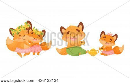 Happy Fox Family With Mother And Father Loving Their Little Cub Dancing And Drinking Tea Vector Set