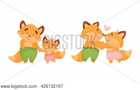 Happy Fox Family With Mother And Father Dancing And Walking With Little Cub Vector Set