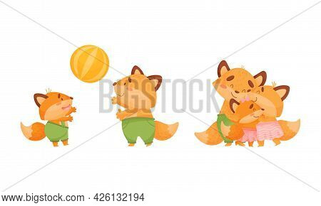 Happy Fox Family With Mother And Father Loving Their Little Cub Playing Ball Vector Set