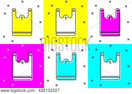 Set Plastic Bag Icon Isolated On Color Background. Disposable Cellophane And Polythene Package Prohi