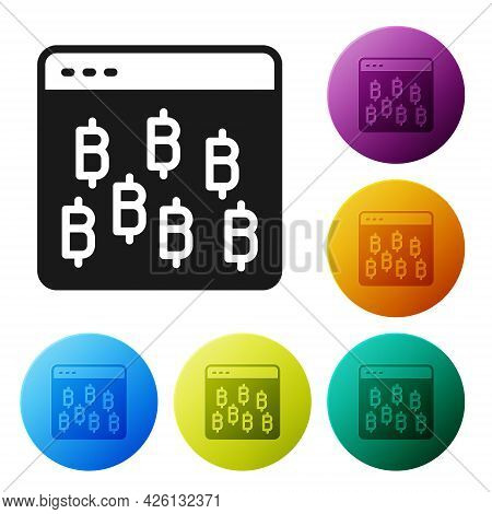 Black Cryptocurrency Coin Bitcoin Icon Isolated On White Background. Physical Bit Coin. Blockchain B
