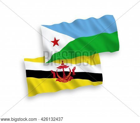 National Fabric Wave Flags Of Republic Of Djibouti And Brunei Isolated On White Background. 1 To 2 P