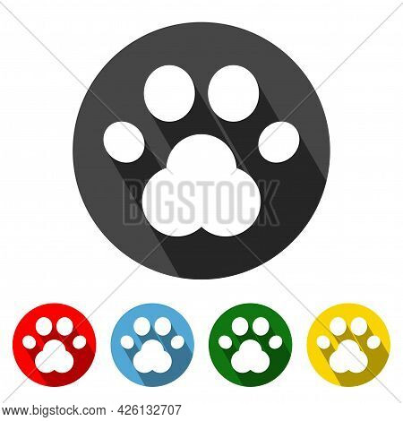 Paw Flat Style Icon With Long Shadow. Paw Icon Vector Illustration Design Element With Four Color Va