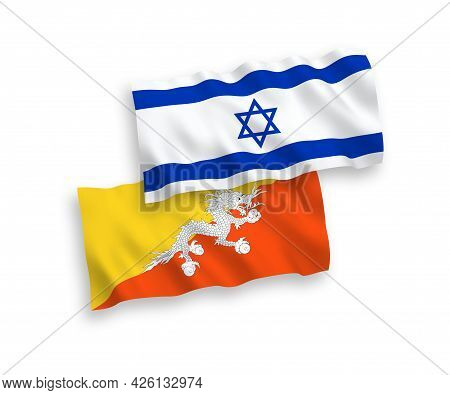 National Fabric Wave Flags Of Kingdom Of Bhutan And Israel Isolated On White Background. 1 To 2 Prop