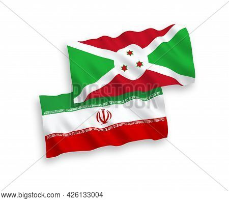 National Fabric Wave Flags Of Burundi And Iran Isolated On White Background. 1 To 2 Proportion.