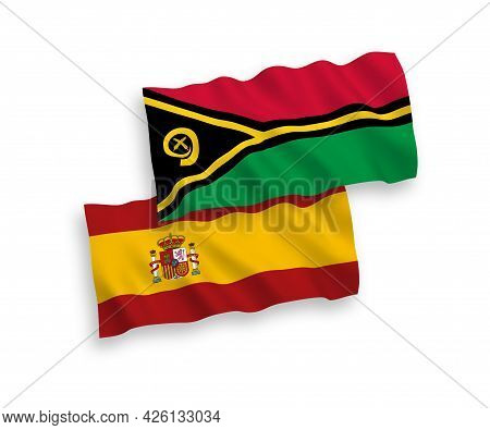 National Fabric Wave Flags Of Republic Of Vanuatu And Spain Isolated On White Background. 1 To 2 Pro