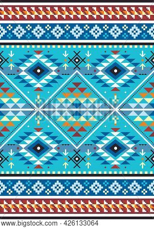 Peruvian Geometric Carpet Or Blanket Style Seamless Vector Pattern - Aztec Textile Or Fabric Print D