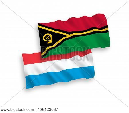 National Fabric Wave Flags Of Republic Of Vanuatu And Luxembourg Isolated On White Background. 1 To