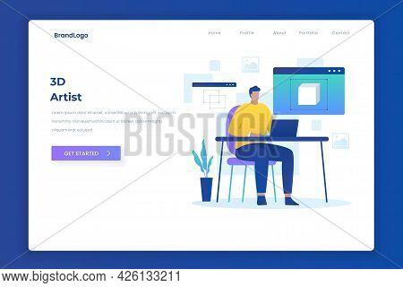 3D Artist Illustration Landing Page Concept