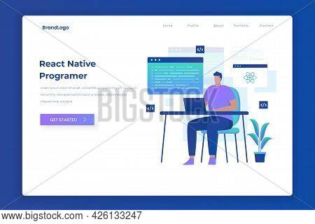 React Native Programmer Illustration Landing Page Concept
