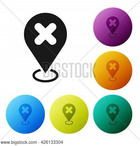 Black Map Pin With Cross Mark Icon Isolated On White Background. Navigation, Pointer, Location, Map,