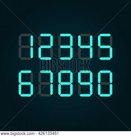Digital Number On Black Background. Vector Illustration