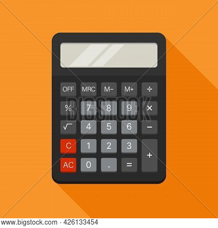 Electronic Calculator In Flat Style. Vector Illustration