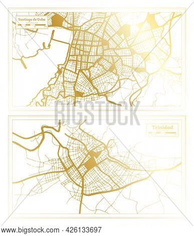 Trinidad and Santiago de Cuba Cuba City Map Set in Retro Style in Golden Color. Outline Map.