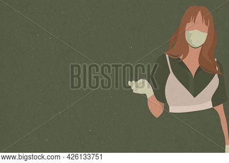 Woman with a face mask and latex gloves during COVID-19 on a green background illustration