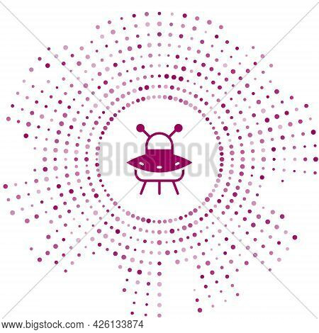 Purple Ufo Flying Spaceship Icon Isolated On White Background. Flying Saucer. Alien Space Ship. Futu