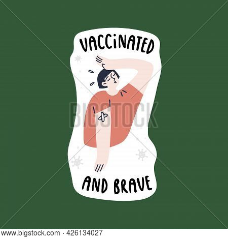 Young Asian Girl Feeling Relief After Vaccination. The State Of Health After Vaccination. Hurray, I