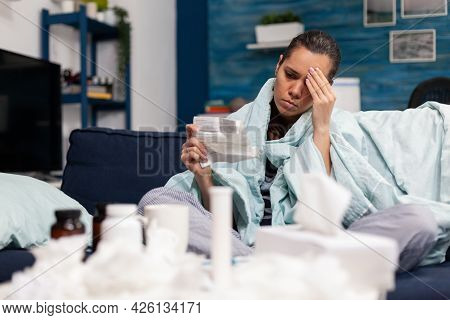 Sick Person Holding Pharmaceutical Prescription From Doctor As Treatment Of Illness Disease. Caucasi