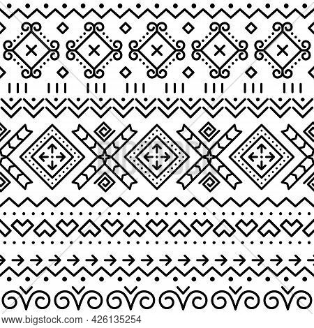 Folk Art Vector Black Seamless Geometric Pattern From Slovakia, Ethnic Ornament Inspired By Traditio