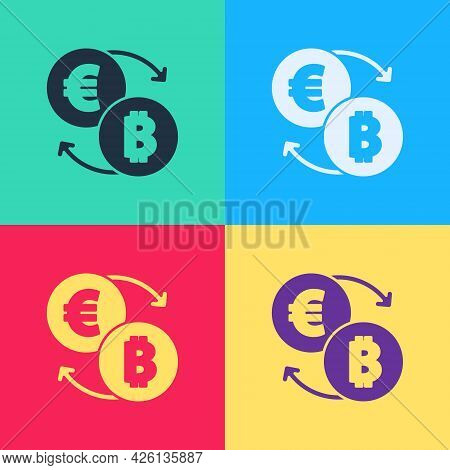 Pop Art Cryptocurrency Exchange Icon Isolated On Color Background. Bitcoin To Euro Exchange Icon. Cr
