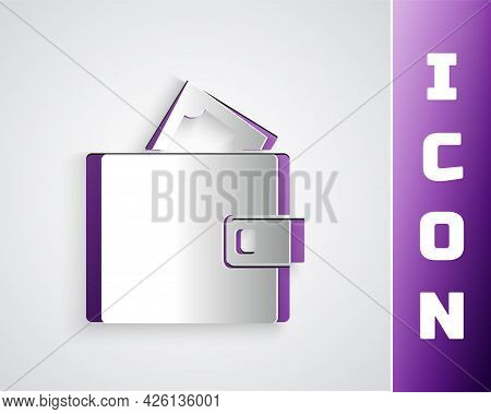 Paper Cut Wallet With Stacks Paper Money Cash Icon Isolated On Grey Background. Purse Icon. Cash Sav
