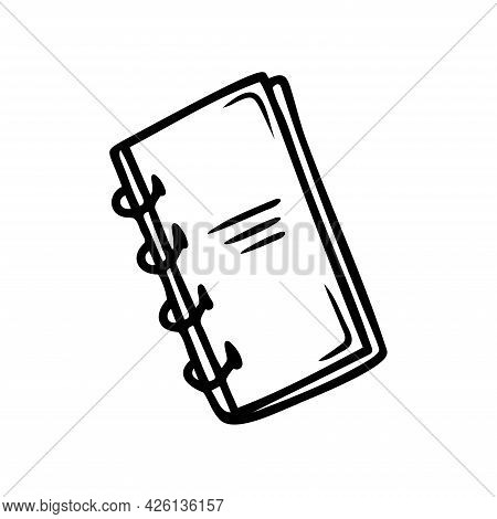 Hand Drawn Notebook For Notes, School, Office Items Isolated On A White Background. Doodle, Simple O