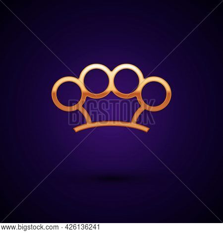 Gold Brass Knuckles Icon Isolated On Black Background. Vector