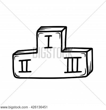 Hand Drawn Sports Podium Isolated On A White Background. Doodle, Simple Outline Illustration. It Can