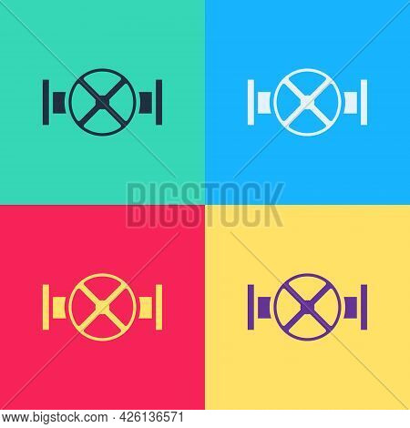 Pop Art Industry Metallic Pipe And Valve Icon Isolated On Color Background. Vector