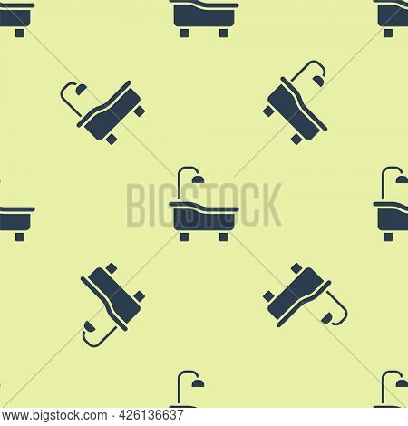Blue Bathtub Icon Isolated Seamless Pattern On Yellow Background. Vector