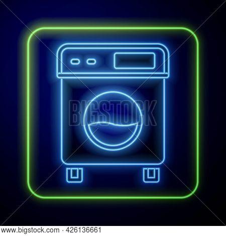 Glowing Neon Washer Icon Isolated On Blue Background. Washing Machine Icon. Clothes Washer - Laundry