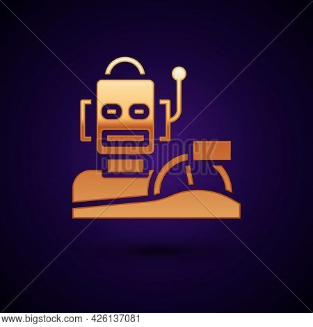Gold Robot Humanoid Driving A Car Icon Isolated On Black Background. Artificial Intelligence, Machin