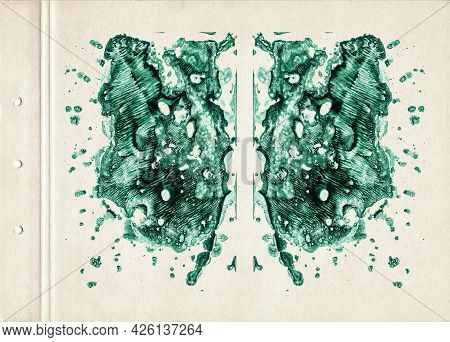 Emerald Green Watercolor Spots. Abstract Watercolor Painting On Old Paper. Abstract Smudged Texture