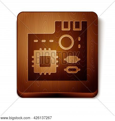 Brown Electronic Computer Components Motherboard Digital Chip Integrated Science Icon Isolated On Wh