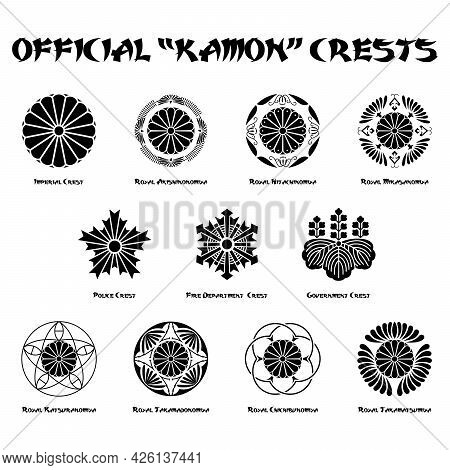 Official Representative Japanese Kamon Crests On White Background