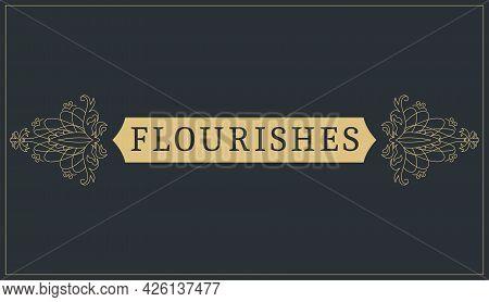 Flourishes Calligraphic Vintage Ornamental Background. Vector Luxury Invitation, Restaurant Menu Or