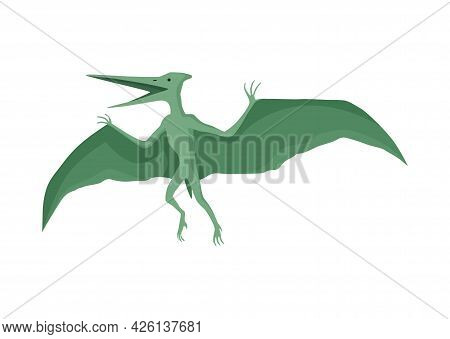 Pteranodon Dinosaur Flat Icon. Colored Isolated Prehistoric Reptile Monster On White Background. Vec
